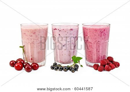 Milkshakes With Berries In Glasses