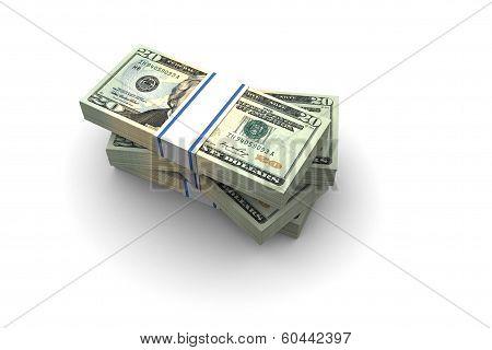 Twenty Dollar Bills Stack