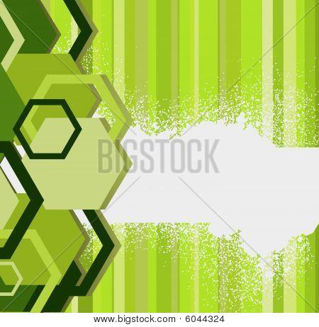 Stylish green banner witn hexagons