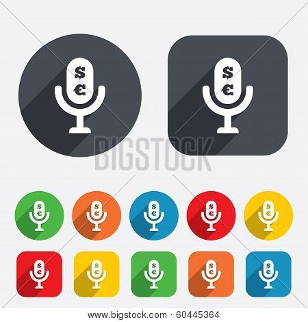 Microphone icon. Speaker symbol. Paid music sign