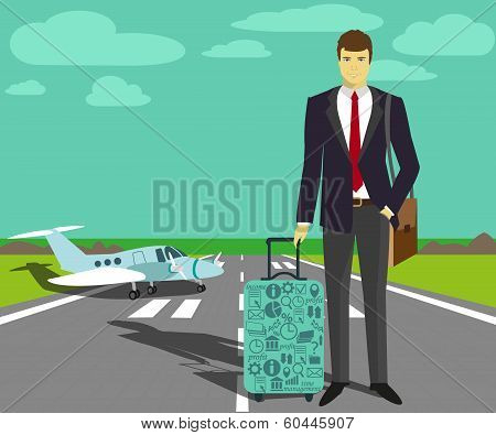 Businessman at take-off runway