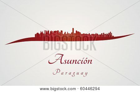Asuncion Skyline In Red