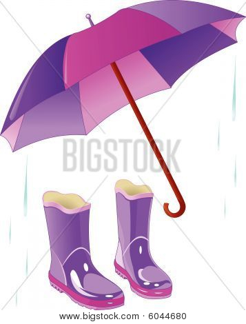 Rain boots and umbrella