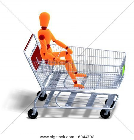 An Orange Red Manikin Sitting In A Ahopping Cart