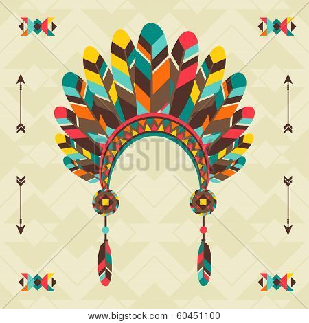 Ethnic background with headband in navajo design.