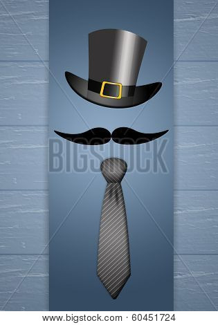 Tie With Mustache For Father's Day