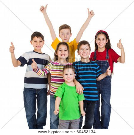 Group of kids with thumbs up sign