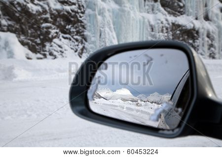 Driving In Snow, Reflection On The Wing Mirror