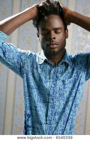 African American Fashion Model Portrait On Blue