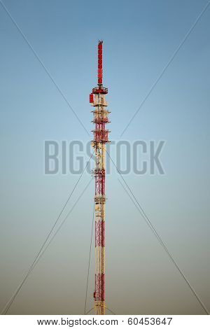 Transmitter tower detail against blue sky