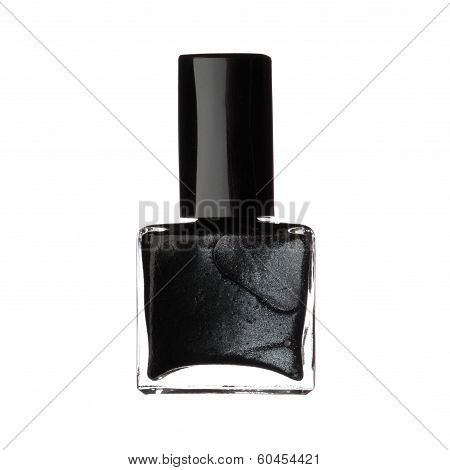 Single Bottle Of Black Nail Varnish Polish Isolated On White Background
