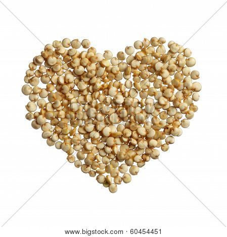 Quinoa Heart Isolated On White Background