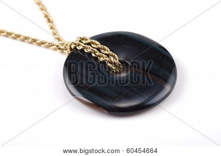 Blue Tiger Eye Donut On Golden Chain