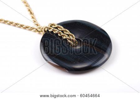 Blue Tiger Eye Donut On Golden Chain