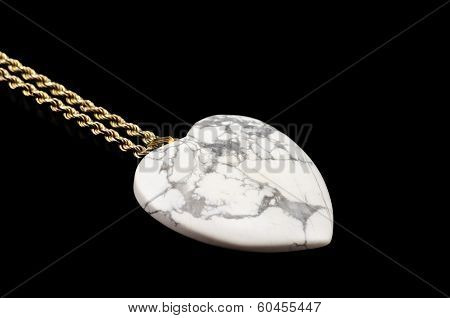 White Howlite Heart With Golden Chain On Black