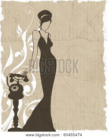 The Vintage Retro Woman Silhouette Background - Vector Illustration
