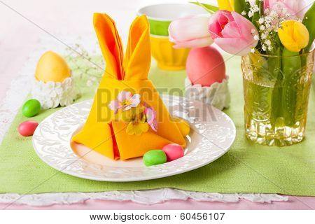 Festive table setting with Easter bunny napkin