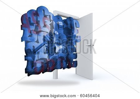 Composite image of burglar on abstract screen against door opening