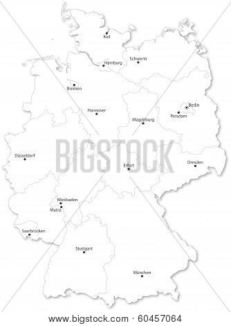 Vector Map Of German States With Cites On White Background.