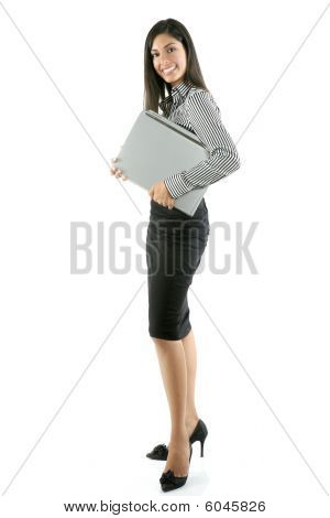 Beautiful Full Body Woman Portrait On White