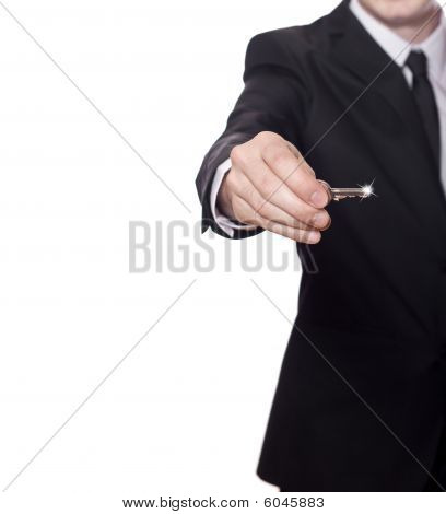 Businessman Has The Key To Success, Copy Space