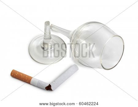 broken glass and cigarette