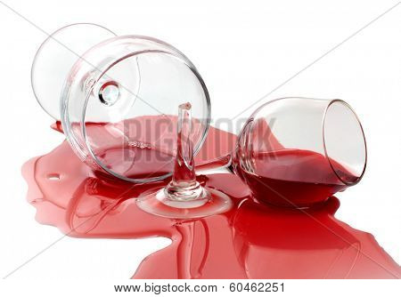 broken glass and spilled wine