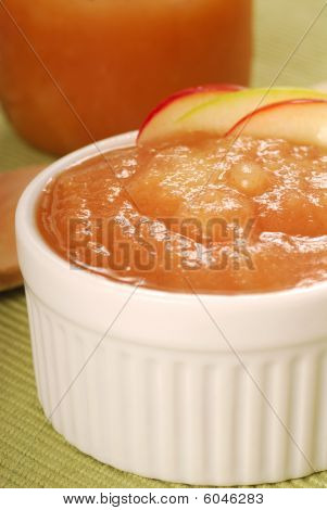 Bowl Of Applesauce With Apple Garnish