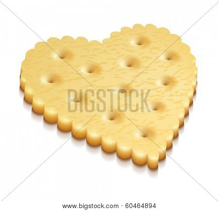 heart crisp cookie snack isolated on white background - eps10 vector illustration