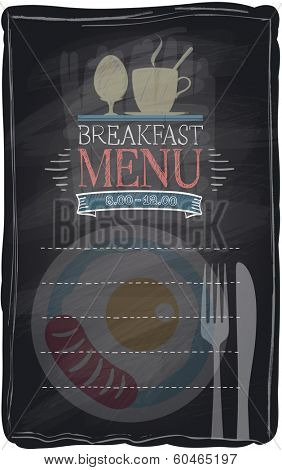 Vintage chalk breakfast menu, chalkboard background. Eps10