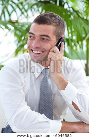 Businessman Sitting On Sofa And Talking On Phone