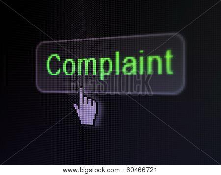 Law concept: Complaint on digital button background
