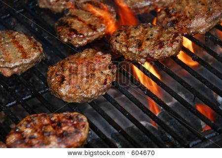Hamburgers On Barbeque