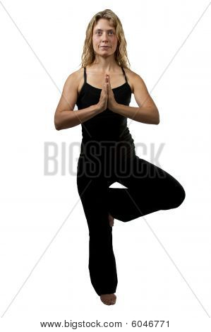 Yoga Tree Pose, Blond Woman Standing On One Foot, Hands Joined