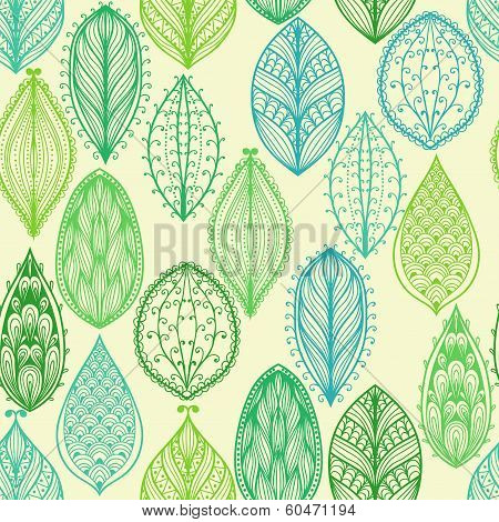 Seamless Hand Drawn Vintage Pattern With Green Ornate Leaves