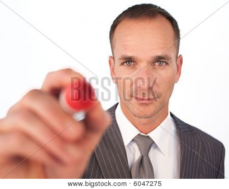 Businessman Using A Red Felt-tip Pen
