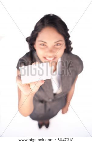 High Angle Of A White Card Hold By A Businesswoman