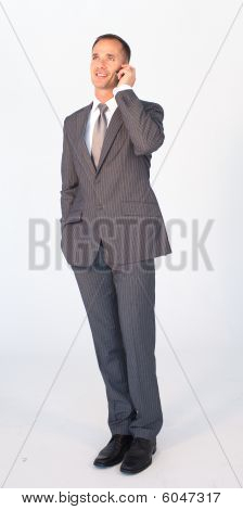 Isolated Businessman On Phone Against White