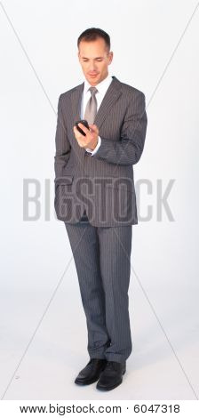 Isolated Businessman Writing A Message With A Mobile Phone
