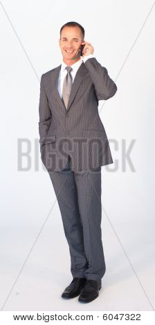 Isolated Businessman On Mobile Against White
