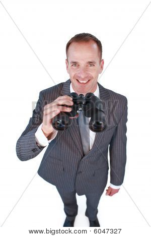 High Angle Of A Businessman Holding Binoculars