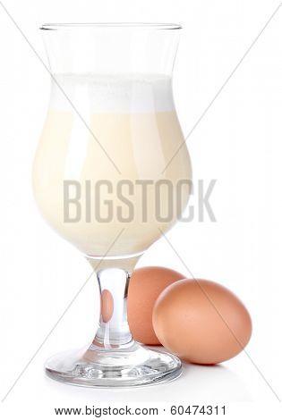 Eggnog isolated on white
