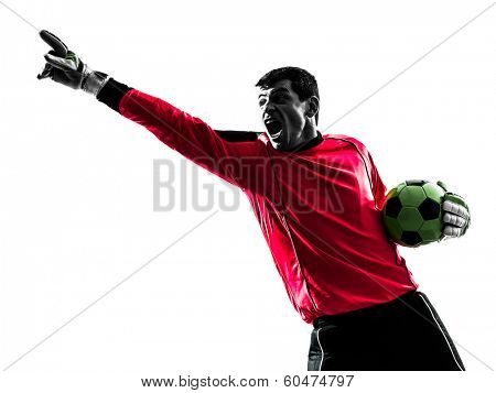 one caucasian soccer player goalkeeper man pointing in silhouette isolated white background