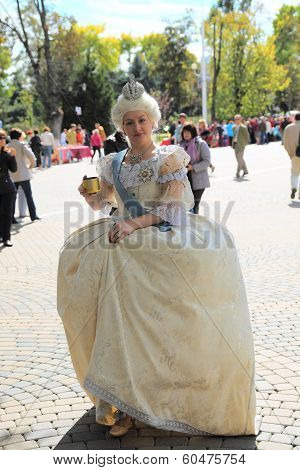 Woman dressed as Russian Empress Catherine II