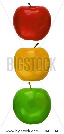 Traffic light from color apples