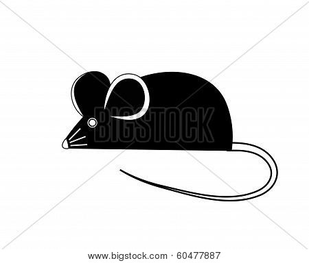 Black mouse. Vector illustration