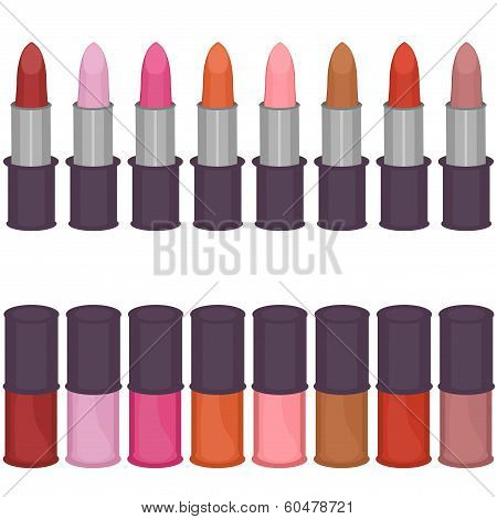 set with lipsticks and nail polish