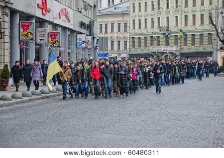 Students On The Streets Of Lvov