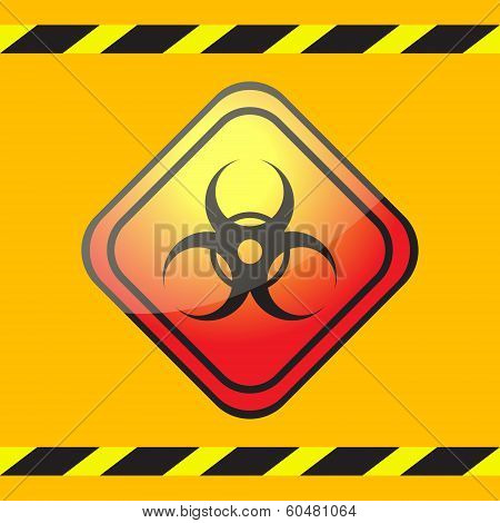 Biohazard Warning Sign On A Square Plate On A Yellow Background With Warning Tapes.
