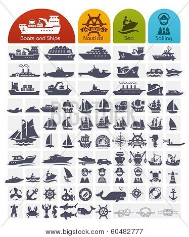 Ships and Boats Icons Bulk series -  over 80 high quality icons,